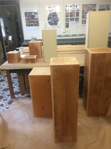 The display boards and pedestals that will be used for display before painting