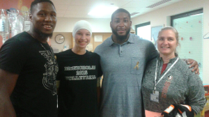 Junior Adrian Ell got to meet professional football player Devon Still. Devon also has a daughter fighting cancer so they could relate to each other.